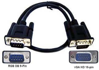 D-Sub 15 Pin VGA Female To DB 9-Pin Male RGB Adapter Cable