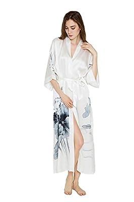 Old Shanghai Women's Silk Kimono Long Robe - Handpainted