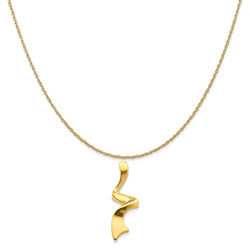 14k Yellow Gold Slide Pendant on a 14K Yellow Gold Rope Chain Necklace, 18