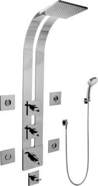 Graff GE1.130A-C9S-SN Square Thermostatic Ski Shower Set w/Body Sprays & Handshowers (Rough & Trim)