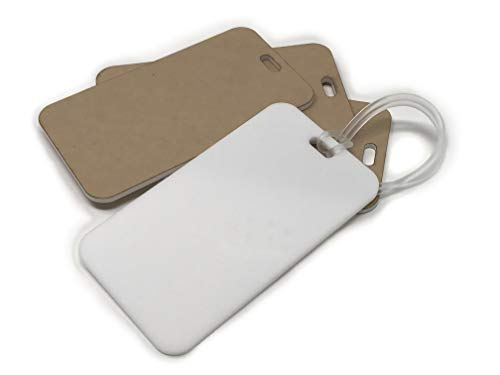 Luggage Tag with Strap 4 Pack - White Blank Acrylic - Make Your Own Luggage Tags - Plexiglass - by My Local Maker - Made in USA