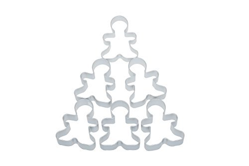 Bilipala 6 Pieces Metal Gingerbread Man Cookie Cutter Christmas Lebkuchen Cookie Molds
