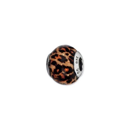 Brown Jaguar Glitter Overlay Glass Bead & Sterling Silver Charm, - Jaguar Glasses