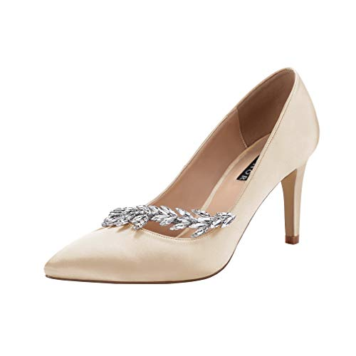 - ERIJUNOR E0017 Pointed Toe Mid Heels Wedding Party Evening Dress Pumps for Women Champagne Size 9