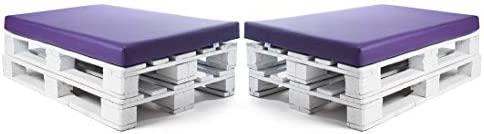 SUENOSZZZ-ESPECIALISTAS DEL DESCANSO Colchonetas para Sofas de Palet (2 x Unidades) Cojin Relleno con Espuma. Color Lila | Cojines para Chill out, ...