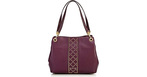 Michael Kors Womens Raven Large Studded Shoulder Tote, Damson