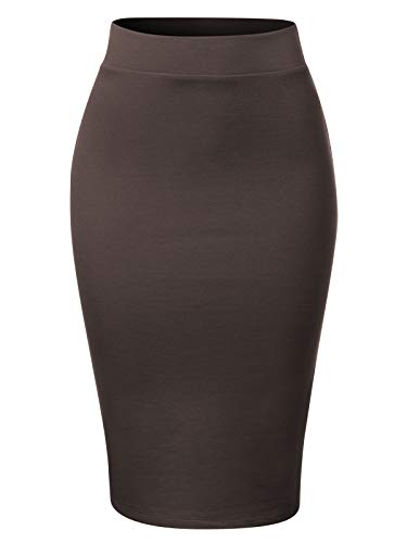 (MixMatchy Women's Waist Band Midi Stretchy Ponte Basic Knee Pencil Skirt Ash Grey 1XL)