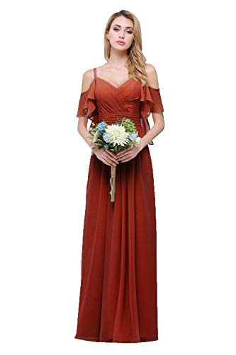 CLOTHKNOW Spaghetti Chiffon Bridesmaid Dresses Long with Shoulder Ruffles Burnt Orange (Burnt Orange Bridesmaid Dresses)