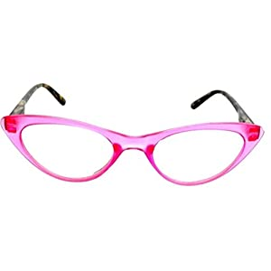 The Cat's Meow Colorful Ladies Cat Eye Reading Glasses, Full Frame Readers, 1950s Vintage Reading Glasses for Women + 1.50 Pink (Microfiber Cleaning Carrying Pouch Included)
