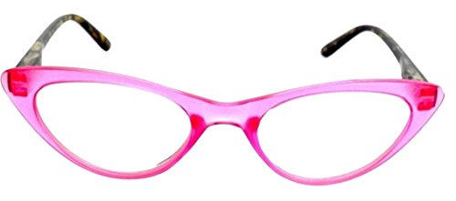 The Cat's Meow Colorful Ladies Cat Eye Reading Glasses, Full Frame Readers, 1950s Vintage Reading Glasses for Women + 1.75 Pink (Microfiber Cleaning Carrying Pouch - Glass Frames Funky
