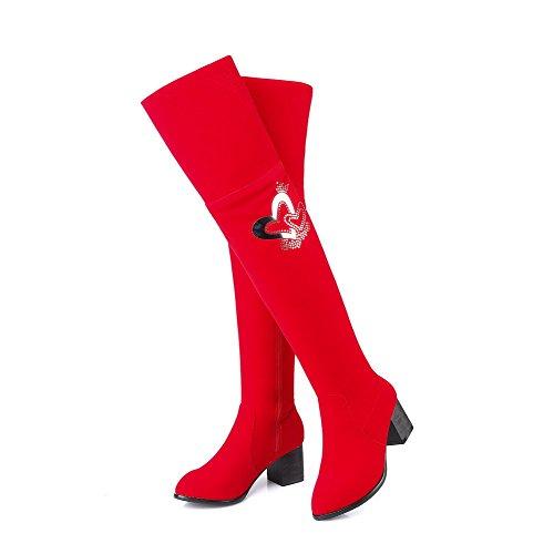 AllhqFashion Mujeres Cremallera Tacón Medio Tachonado Caña Alta Botas con Diamante Rojo