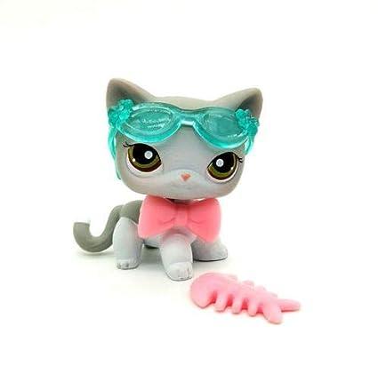 Littlest Pet Shop #138 Short Hair Gray White Cat Kitten LPS Toy 3/Accessories