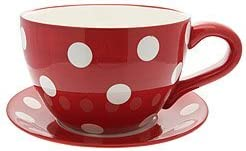 GIANT RED POLKA DOT TEA CUP AND SAUCER PLANTER | Tea cup
