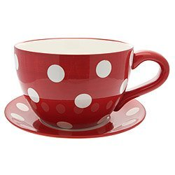 Lifestyle Products, Polka Dot Red Tea Cup & Saucer Planter, 16.5 x ...