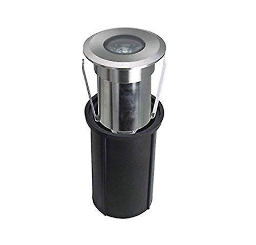 LineteckLED® - E02.003.02F Faretto led segnapasso da incasso in alluminio spazzolato 2W 12V 6500K luce fredda 180 lumen IP66 per esterno per percorsi luminosi [Classe di efficienza energetica A+] EUROSTARLED