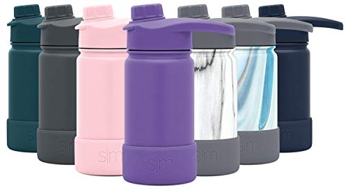Simple Modern 14 Ounce Summit Water Bottle with Chug Lid & Protective Boot - Hydro Vacuum Insulated Flask 18/8 Stainless Kids -Lilac