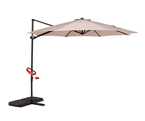 Grand patio Simple Style 10 FT Offset Umbrella, UV Protective Pool Umbrella, Aluminum Cantilever Umbrella Crank Air Vent, Beige For Sale