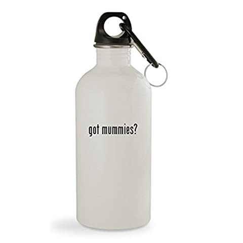 got mummies? - 20oz White Sturdy Stainless Steel Water Bottle with Carabiner (Lose You Mummy Tummy)