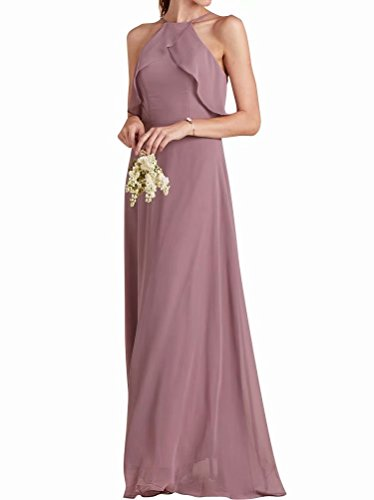 VICKYBEN Halter Chiffon Bridesmaid Dresses Long Ruffle Evening Gowns for ()