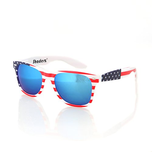 American USA Flag Retro 80's Sunglasses Classic America Patriotic Classic Sunglasses Eyewear by Shaderz Ice - Glasses American Flag Sun