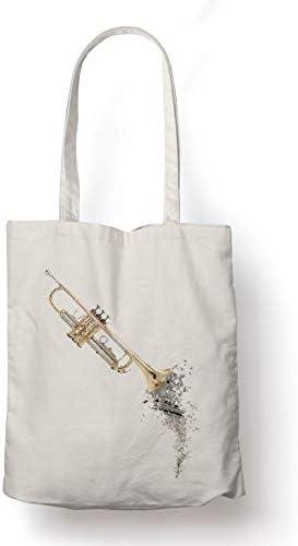 BLAK TEE Flying Musical Notes Trumpet Organic Cotton Reusable Shopping Bag Natural
