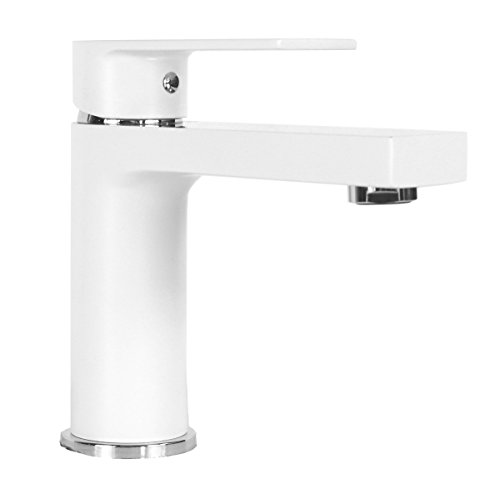 ARIEL ANNA-CW Anna Style Solid Brass Single Hole Lever Bathroom Vanity Faucet, Matte White Finish