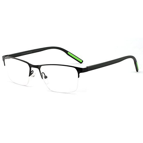 OCCI CHIARI Men Glasses Frame Rectangle Optical Eyewear Non Prescription Eyeglasses (Black+Green ()