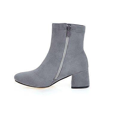 Botines Nobuck SHAOYE cerrada Otoño Cuero Tacón Hasta Invierno Semicuero Robusto Cremallera el Mujer Tobillo Moda Botas Punta Zapatos de Botas gqrZfSg