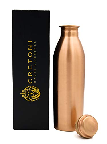 Cretoni Copperlin Pure Copper Water Bottle : Sleek Seemless Leak Proof Design : Perfect Ayurvedic Copper Vessel for Sports, Fitness, Yoga, Natural Health Benefits (900 Milliliter/30 Ounce)