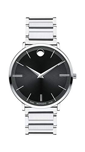 Movado Men's Ultra Slim Stainless Steel Watch with a Printed Index Dial, Black/Silver (Model 607167)