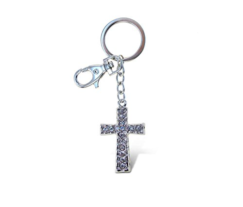 Puzzled Elegant Metal Ring Sparkling Byzantine Cross Charms Keychain Rust Resistant Alloy & Crystals Keyring Unique Backpack Handbag Purse Mobile Bling-bling Decoration Gadgets Accessories 4 Inch ()