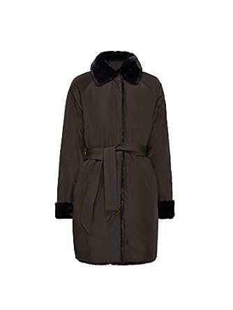 GEOX Women's Faux Fur Kaula Reversible Coat Black AU 10