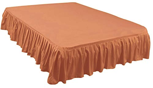 Global Bedding Paradise Three Fabric Sides 18 Inch Tailored Drop Full Size Ruffled/Gathered Bed Skirt in Solid Coral - 600 Thread Count 100% Cotton Dust Ruffle by The Great American Store