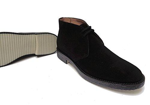 ANTICA CUOIERIA - Zapatos de cordones de ante para hombre negro negro 42
