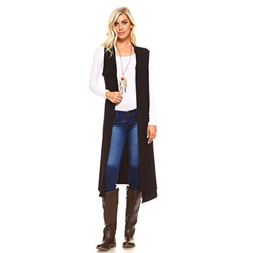 Isaac Liev Women's Sleeveless Lightweight Duster Vest (Medium, Black-)