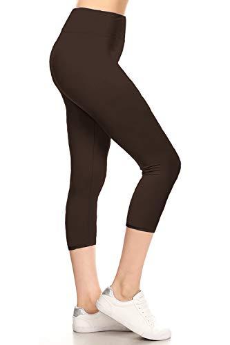 LYCPX128-BROWN Yoga Capri Solid Leggings, Plus Size