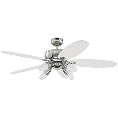 "Westinghouse 7255900, Panorama Chrome 52"" Ceiling Fan with Light"