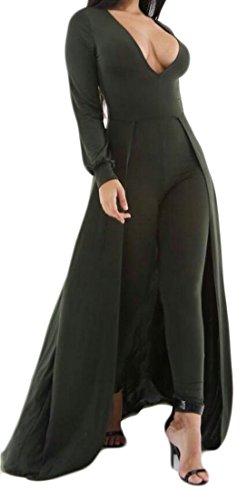 Hot KLJR Women's V-Neck Long Sleeve Club Bodycon Jumpsuits Romper Cloak free shipping