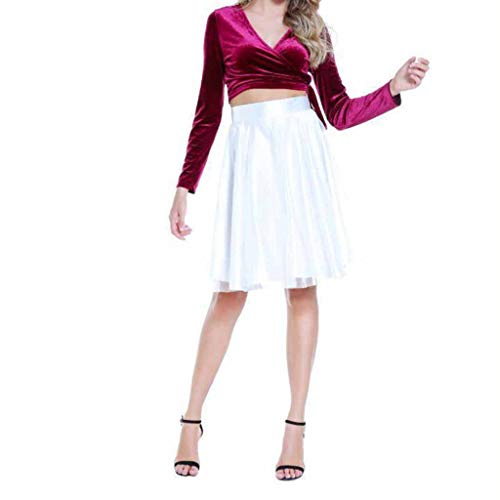 SMALLE◕‿◕ Party Costume,2Pcs Women Solid Slim Cross V-Neck Lace Shirt + Evening Mini Dress-Goddess Essentials Red