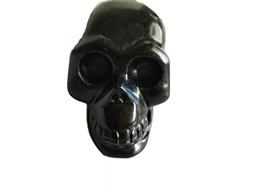 JIC Gem 4 10cm Natural Obsidian Skull Healing Crystal Stone Human Reiki Skull Figurine Statue Sculptures Gemstone Collectible Figurine