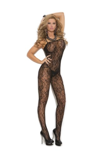 Elegant Moments Women's Rose Lace Bodystocking with Open Crotch
