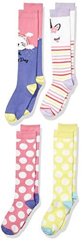 (Spotted Zebra Kids' 4-Pack Knee Socks, Cats and Unicorns, Small (10-13))
