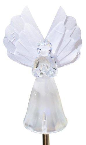 Solaration 1033 Frosty Snow White Angel Garden Light, Fiber Optic Wing - Angel Garden Stake