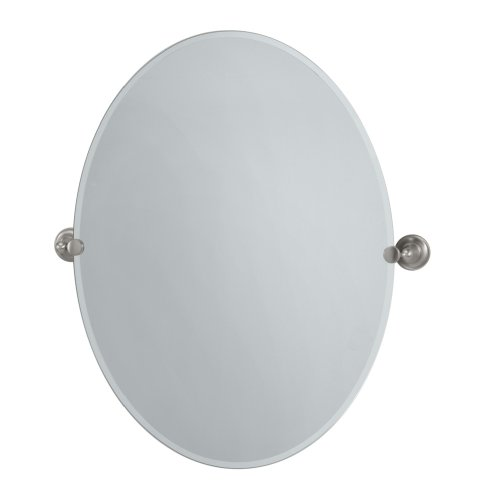 Gatco 4339LG Tiara Large Oval Wall Mirror, Satin Nickel