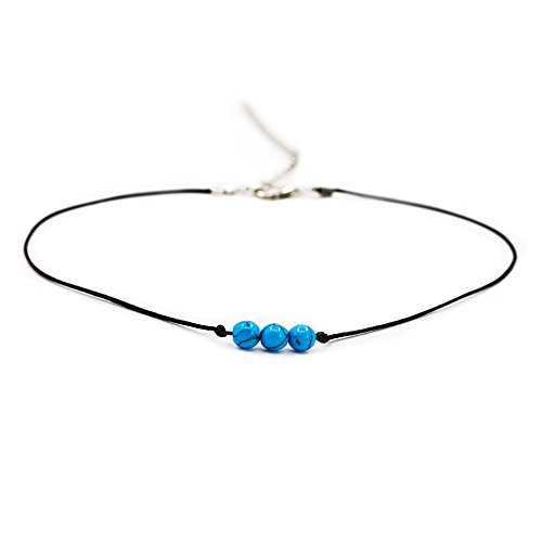 Boosic Compressed-Turquoise Bead Black Cord Choker Handmade Jewelry For Women