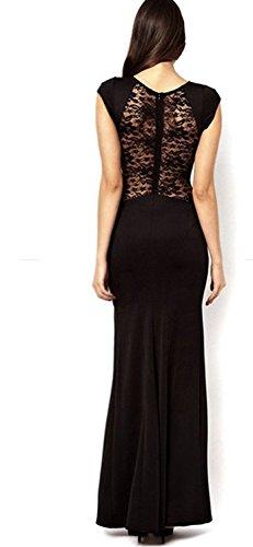 Damen Spitze Kleid Kurzarm Brautkleid Festkleid Party Cocktail Abendkleid mit Schlitz
