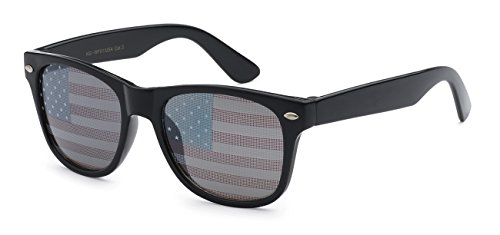 5Zero1 Retro Classic American Patriot Flag USA Independent Celebration Wayfarer Aviaotr Sunglasses (Kids USA Flag Patriot Wayfarer Black)