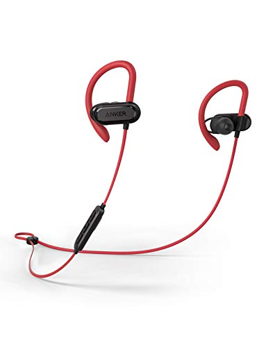 Soundcore Spirit X Sports Earphones by Anker, with Wireless Bluetooth 5, 12-Hour Battery, IPX7 SweatGuard Technology, Secure Fit for Sport and Workouts, with Mic (Red)