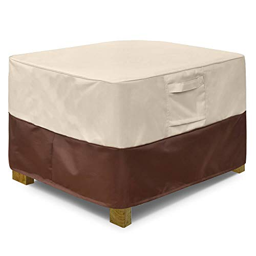 Vailge Square Patio Ottoman Cover, Waterproof Outdoor Ottoman Cover with Padded Handles, Patio Side Table Cover, Heavy Duty Outdoor Furniture Covers(Large,Beige & Brown) (Coffee Furniture Table Outdoor Cover)