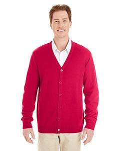Harriton Mens Pilbloc V-Neck Button Cardigan Sweater (M425) -RED -L ()